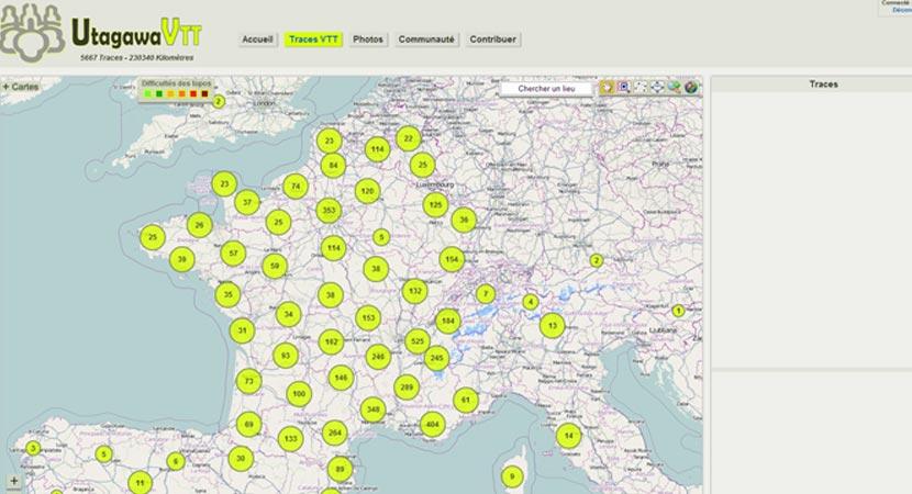 Traces GPS sur le site UtagawaVTT