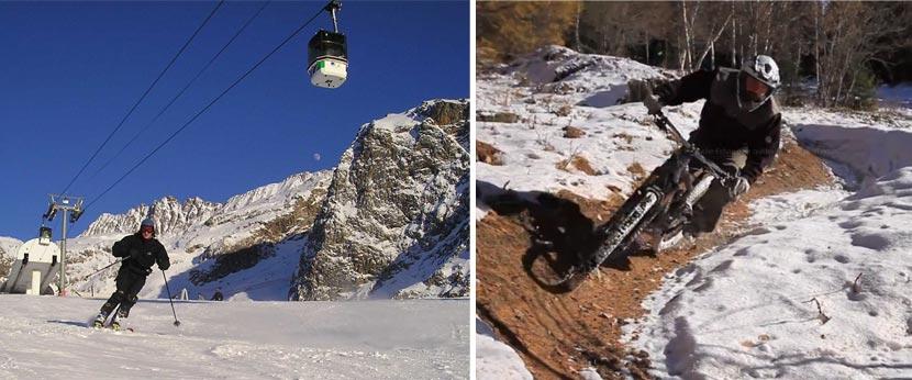 Skieur et VTT dans la neige